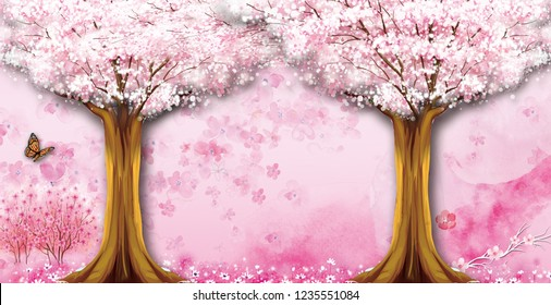 3d wallpaper design with florals and trees for photomural