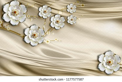 3d wallpaper design with flowers and silk background for photomural