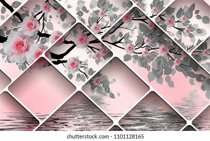 3D Wallpaper Design with geometric shapes and florals