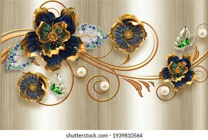 3d wallpaper design golden  blue  flowers