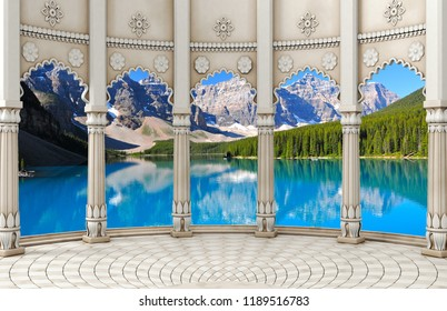 3d wallpaper design with historical columns on a landscape with mountains for photomural