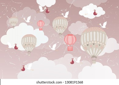 3d wallpaper design with hot air balloons and storks with babies for photomural
