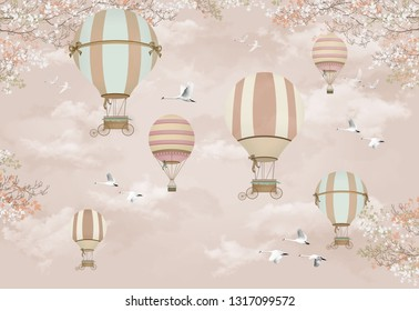 3d wallpaper design with hot air balloons and birds for kids wall