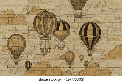 3d Wallpaper design with hot air ballons on a brick wall for nursery