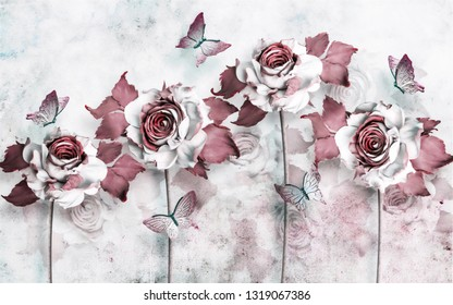 3d wallpaper design with illustrative flowers and butterflies for mural print