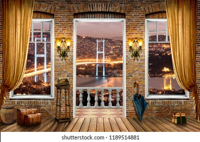 3d wallpaper design of istanbul bridge in bosphorus turkey with woom effect and curtain window and terrace for photomural