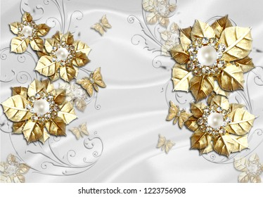 3d wallpaper design with jewelerry flowers and luxury objects for photomural