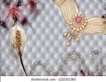 3d wallpaper design with jewellery and ornamental objects