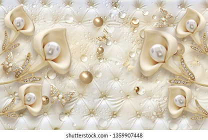 3D wallpaper design with jewels and flowers on capitone background for photomural print