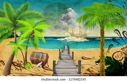 3d wallpaper design for kids with pirate bay theme for photomural