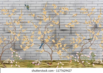 3d wallpaper design with little flowers and brick wall and birds