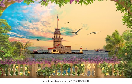 3d wallpaper design with maiden tower of istanbul turkey from a balcony view for photomural