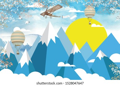 3d wallpaper design with mountains, plane and hot air balloon on a sky background