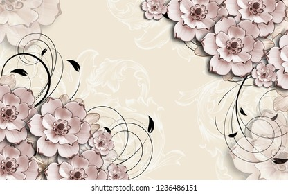 3d wallpaper design with ornaments and florals for photomural