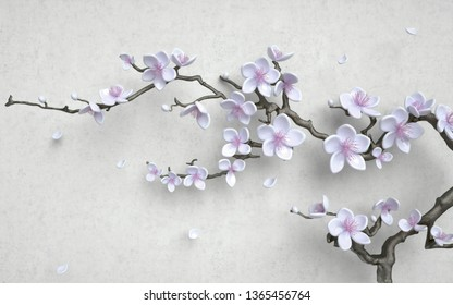 3d wallpaper design with render flower and tree branch for digital print