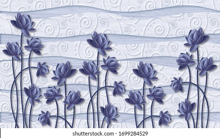 3d wallpaper design with rendering flower. photomural 3d flower beautiful abstract background. High quality seamless wallpaper design.
