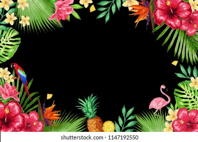 3d wallpaper design with tropical theme for photomural