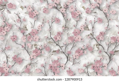 3d wallpaper design with vintage blossom and branches on grunge style pattern backgound for mural