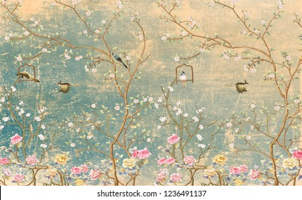 3d wallpaper design with vintage florals on grunge wall for photomural