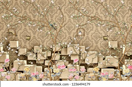 3d wallpaper design with vintage florals on 3d damask wall for photomural