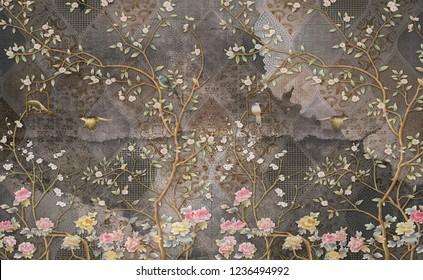 3d wallpaper design with vintage florals on grunge tile wall for photomural