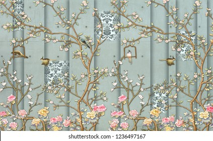 3d wallpaper design with vintage florals on concrete wall for photomural