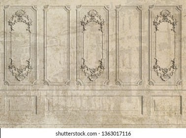 3d wallpaper design with wall panels in victorian style for photomural print