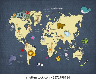 3d wallpaper design with a worlp map with animals for photomural