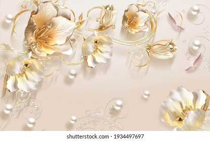 3d wallpaper flowers Cristal and background texture