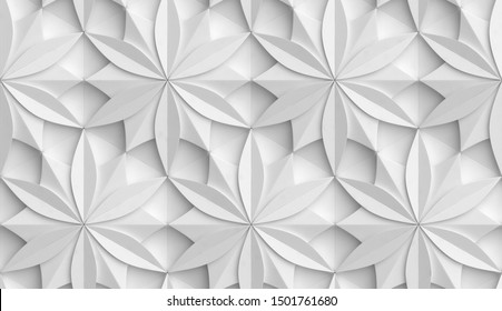3D Wallpaper in the form of geometric panels of white material. Flower of life. Realistic seamless texture of high quality.