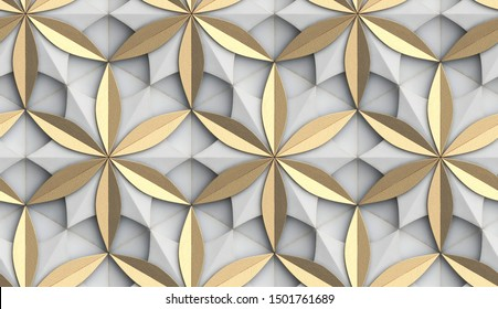 3D Wallpaper in the form of geometric panels of white old metal with golden decorative elements. Flower of life. Realistic seamless texture of high quality.