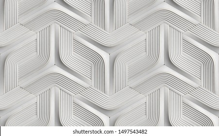 3D Wallpaper in the form of white futuristic relief modules with golden scuffs on the edges. High quality seamless realistic texture.