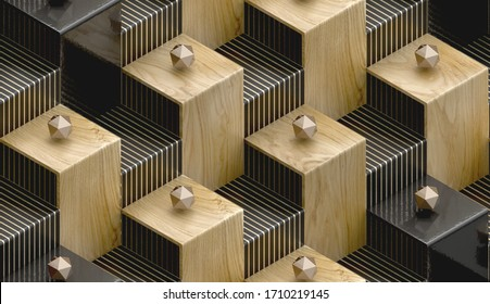 3D Wallpaper in the form of wood and black stairs with gold spherical forms of icosahedron and gold stripes on the surface of the steps. High quality seamless realistic texture.