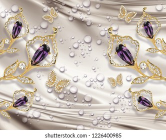 3D wallpaper, jewelry  calla lily on silk background. Celebration 3d background