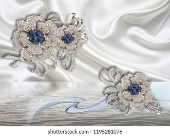 3d wallpaper with jewelry flowers on white silk will expand visually room, make room lighter and become a good accent in the interior design.