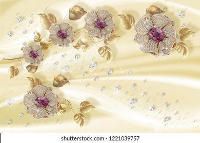 3D wallpaper, jewelry flowers on silk background. Flower theme - this is a trend in design. Celebration 3d background