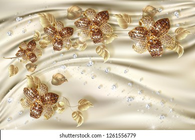 3D wallpaper, jewelry flowers on silk background. Celebration 3d background