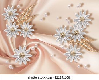 3D wallpaper, jewelry flowers and pearls on silk background. Flower theme - this is a trend in design. Celebration 3d background.