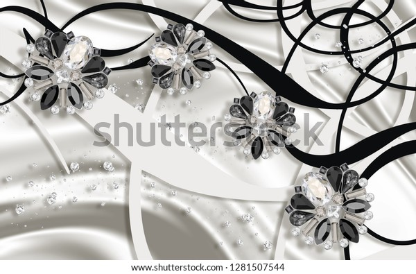3D wallpaper, Jewelry flowers, silver silk and abstract for bedroom