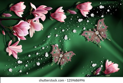 3D wallpaper, Jewelry and magnolia on green silk. Flower theme - this is a trend in interior design. Celebration 3d background.