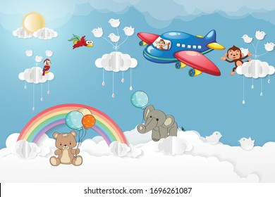 3d wallpaper kids room airplane animals
