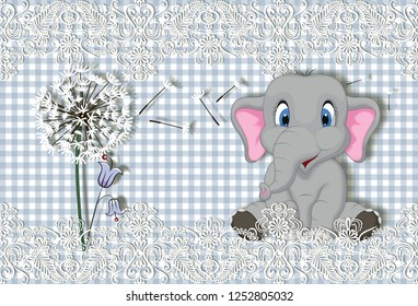 3d wallpaper, little elephant on check fabric background