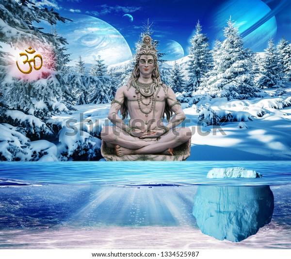 3d Wallpaper Lord Shiva On Kailash Stock Illustration 1334525987