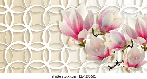 3d wallpaper, magnolia on rings background. Celebration 3d background. Flower theme - this