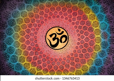 3D Wallpaper, OM in colourful manner