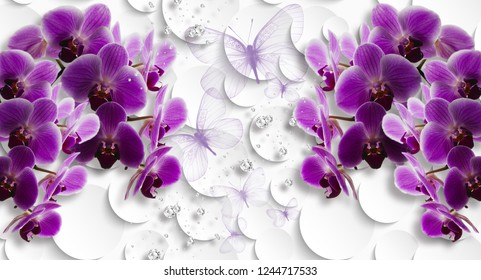 3d wallpaper, orchids and butterflies on  white abstract background. Celebration 3d background.