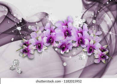 3d Wallpaper with purple orchids and rhinestones on veil background will visually expand a room, make it lighter and become an accent in the interior design. Glare effects. 3D rendering.
