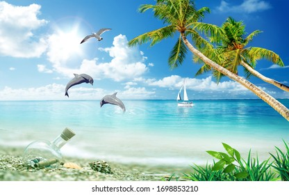 3d Wallpaper, Sea Beach view with coconut trees