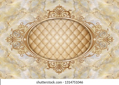 3d wallpaper, stucco decor frame, effect leather quilted buttoned in the middle on beige marble background. 3d ceiling