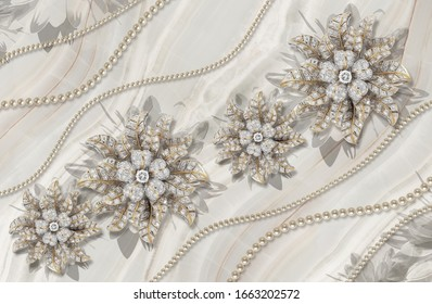 3d wallpaper texture, jewelry flowers, pearls on marble background
